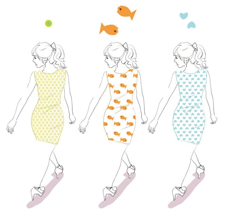 パターン作例:ファッションイラスト