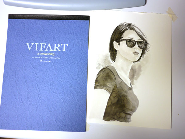 VIFARTと水彩で描いたサングラスの女