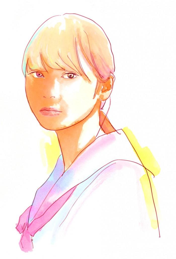 女子高生 水彩画